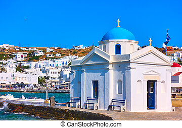 Old church in the port of Mykonos