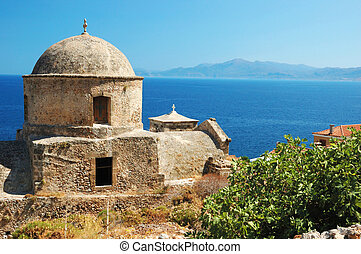 Old byzantine church of Monemvasia town at the east coast of the Peloponnese, Greece