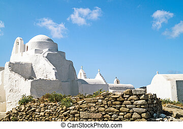 Old church of Panagia Paraportiani at Mykonos island in...