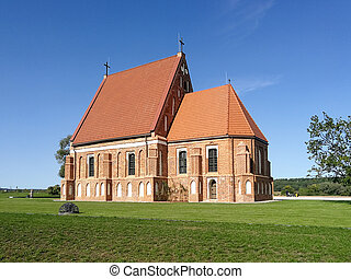 View of the old church of st. John the baptist in Zapyskis, Kaunas district, Lithuania