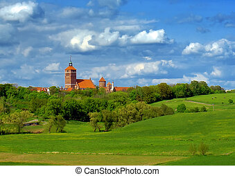 old, red brick church in Poland
