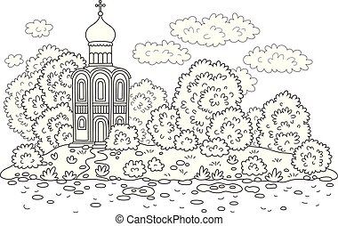 Old church on a river bank - Ancient Russian orthodoxy...