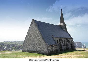 old church on the cliffs of Etretat