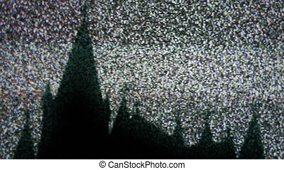 Old church on TV static
