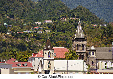 Two old church steeples in the town of Bridgetown, Barbados