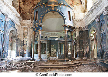 Old church - Interior shot of old Abandoned Orthodox Church...