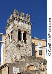 old church tower Corfu town Greece