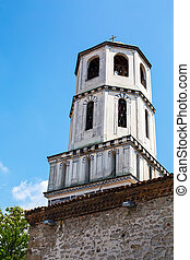 Old church tower in Plovdiv city, Bulgaria