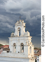 Old colonial church tower and bells in Sucre, Bolivia.