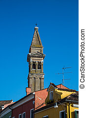 Old Church Tower Over Colorful Homes in Burano
