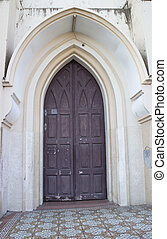 Old church wooden door