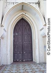 Old church wooden door