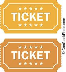 Old cinema ticket vector icon