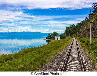 Old Circum-Baikal railway in Siberia - Awe background of a...
