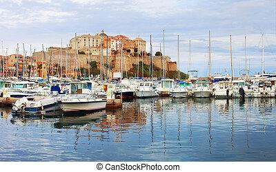 Old citadel of Calvi,France. - Calvi ,Corsica. View of...