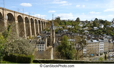 old city and viaduct of Morlaix - view of the old city and...