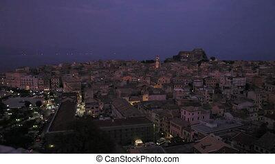 Old city at night, Corfu, Greece