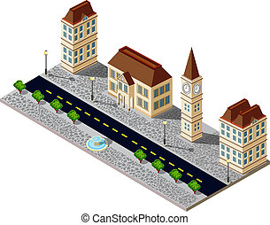 Old city block with buildings and pavement