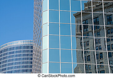 old city building reflected in skyscraper - old city...