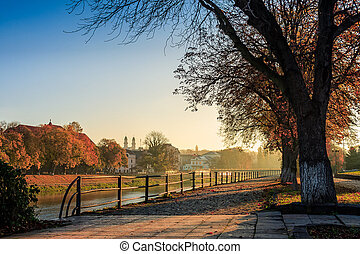 old city embankment on early autumn morning - embankment of...