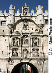 Old city gate - City gate in Burgos, Spain. Arco de Santa ...