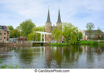 old city gate to Delft, Netherlands - East gate with typical...