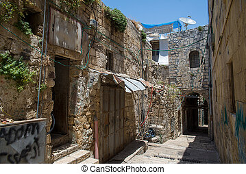 old city in Jerusalem - the streets of the old city of...