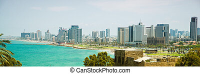 old city Jaffa - view of the modern Tel Aviv from old city