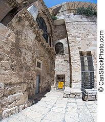 Old city jerusalem street in summer tourism vacation