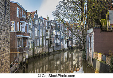 old city of dordrecht in Holland - old town with houses at...