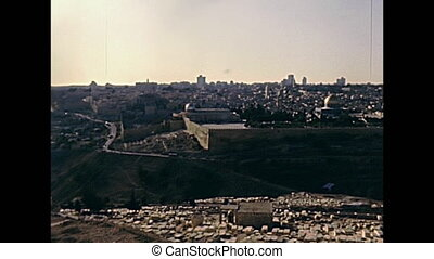 Old City of Jerusalem aerial view. With the Dome of the Rock...