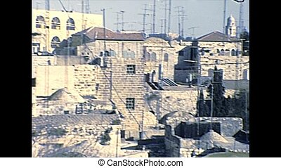 Old City of Jerusalem cityscape with traditional houses and...