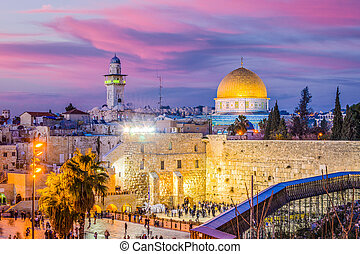 Old City of Jerusalem - Skyline of the Old City at the...