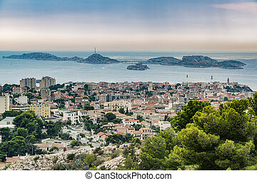 Old city of Marseille and famous If castle.