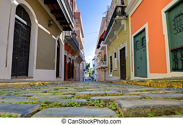 Old City of San Juan - Alley in the old city of San Juan, ...