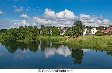 Old city on the water. Gatchina. Russia.