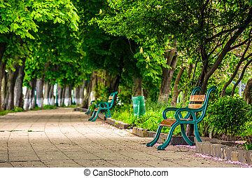 old city park with benches - area of the old city park with...