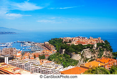 Old city peninsula with prince palace in Monaco, tiny little...