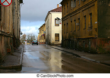 Old city - Street of old city after a rain