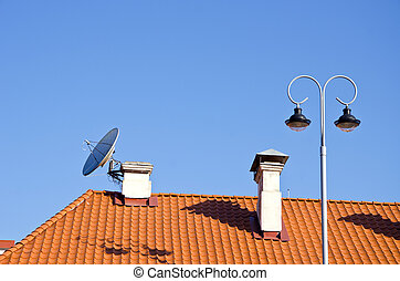 city tiles roof with chimney and lamp - old city tiles roof ...