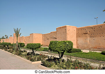 Old city wall in Marrakech, Morocco