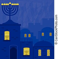 Old City With Menorah - Hanukkah design of an old city at...
