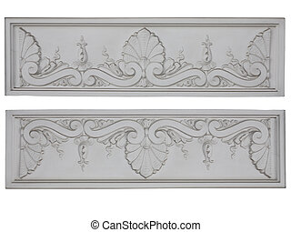 Old classic architecture white floral decorative panel isolated