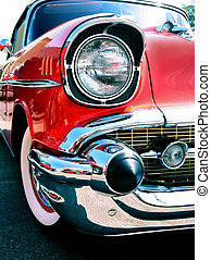 old classic chevy car - front lights and chrome bumper from...