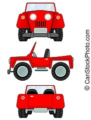 Old classic jeep - A cartoon old classic Jeep in three...