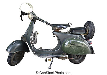 Old Classic motorcycle on isolate white background