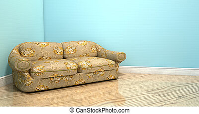 Old Classic Sofa In A Room - An old vintage sofa with a...