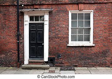 Old classic victorian door and window in England