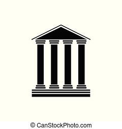 Old Classical Museum Building Icon Isolated on White