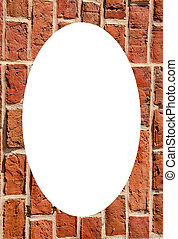 Old clay brick wall and white oval in center